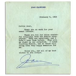 Joan Crawford 1963 Typed Letter Signed