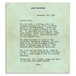 Joan Crawford Letter Unsigned re Olivia de Havilland