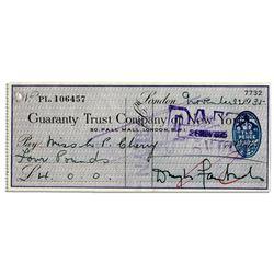 Douglas Fairbanks, Sr. Signed Check -- Died in 1939