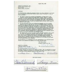 Three Stooges Agreement Signed by Moe Howard, Larry Fine & Joe DeRita