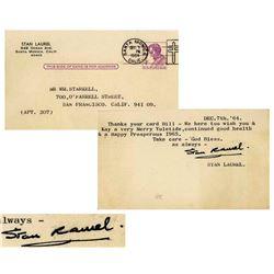 Stan Laurel Postcard Signed re a Prosperous I965