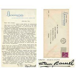 Stan Laurel Letter Signed re 20th Century & Metro Studi