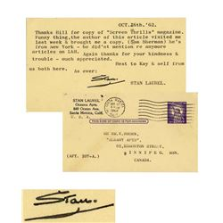 Stan Laurel Postcard Signed re Screen Thrills Magazine