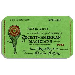 Milton Berle's 1963 Society of American Magicians Card