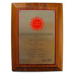 From Jean Stapleton Estate, Her 1979 Excellence Award