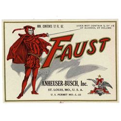 Anheuser-Busch Faust Label Prohibition Era Beer Brewery