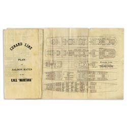 1912 Cunard Line's RMS Mauretania Deck Plans & Rates