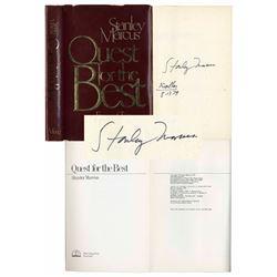 Stanley Marcus of Neiman-Marcus Signed Memoir Book