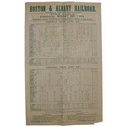 1874 Boston & Albany Railroad Broadside re Rail Schedul