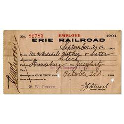 1904 Erie Railroad employee pass Trains Pennsylvania