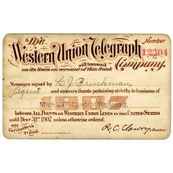 1907 Western Union Railroad Franking Privilege Railroad