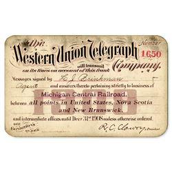 1908 Western Union Railroad Franking Privilege Railroad