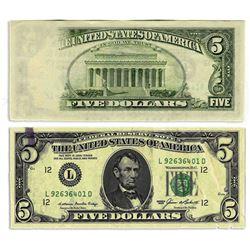 1985 $5 Federal Reserve Insufficient Ink Error Bill