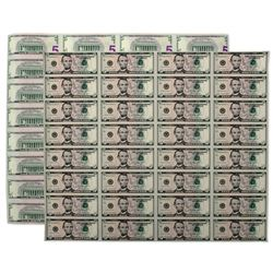 2006 Uncut Sheet of 32 $5 Federal Reserve Notes