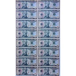 2006 Uncut Sheet of 16 $10 Federal Reserve Notes