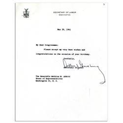 Supreme Court Justice Arthur Goldberg Signed Letter