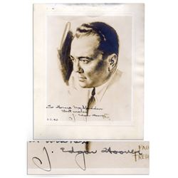 J. Edgar Hoover Signed Portrait Print -- From 1939