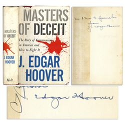 """'Masters of Deceit��"""" signed by FBI Director J. Edgar Hoove"""