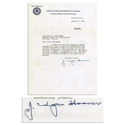 J. Edgar Hoover 1959 Typed Letter Signed ''Personal''
