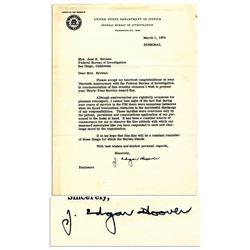 J. Edgar Hoover Typed Letter Signed FBI Stationery 1970