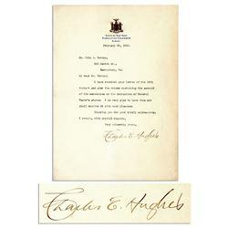Supreme Court Justice Charles Evan Hughes Signed 1910 Letter
