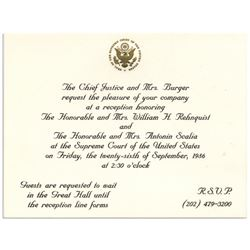 Invitation to the Investiture Ceremony of Rehnquist