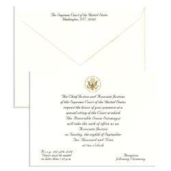 Invitation to Investiture Ceremony of Sonia Sotomayor
