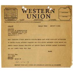 Bonnie & Clyde 1934 Telegram re Mary O'Dare Arrest