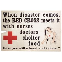 Large Red Cross Vintage Poster ''When Disaster Comes...''