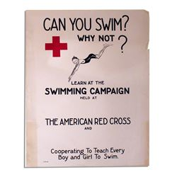 Circa 1920's Red Cross Poster ''Can you Swim?''