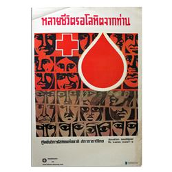 Thai Vintage & Original Red Cross Blood Poster