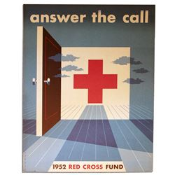 1952 Red Cross Poster - Mid-Century Graphic Design