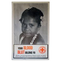 Vintage Papua New Guinea Red Cross Poster Little Girl