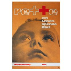 Vintage Austrian Red Cross Poster re Give Blood