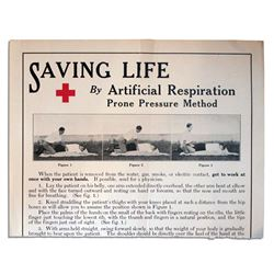 Mid-Century Red Cross Poster Showing the Prone Pressure