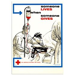 Red Cross Blood Donation 1961 Poster ''Someone Lives''