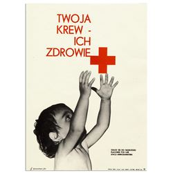 Vintage Polish Red Cross Poster Your Blood Their Health