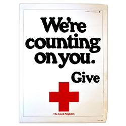 ''We're Counting on You. Give.'' Vintage Red Cross Poster