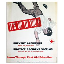 Vintage Red Cross 1953 Poster for First Aid Education