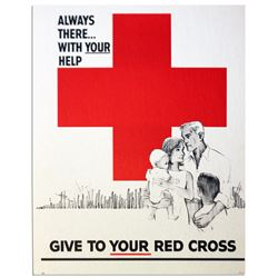 Vintage Red Cross Always There With Your Help Poster