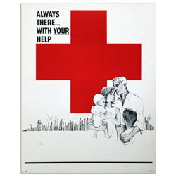 Red Cross Always There With Your Help Vintage Poster