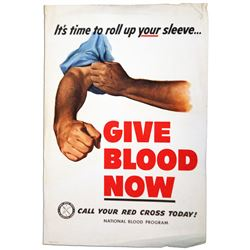 It's Time to Roll Up Your Sleeve Red Cross Blood Poster