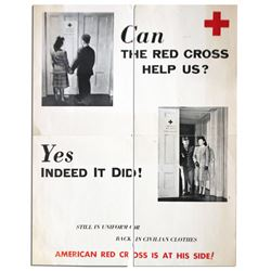Circa 1946 Vintage Red Cross Poster for WWII Veterans