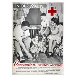 Precaution Prevents Accidents 1940's Red Cross Poster