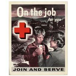 Vintage Red Cross ''On the Job'' Poster