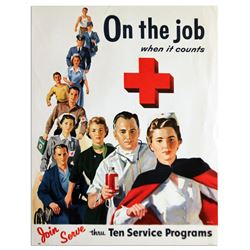 Vintage Red Cross 15'' x 19'' Poster, ''On The Job''