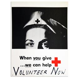 Striking Vintage Red Cross Photograph Poster
