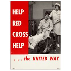 Vintage Red Cross United Way 10'' x 13.5'' Poster