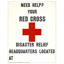 Red Cross Disaster 11'' x 14'' Relief Poster ''Need Help?''