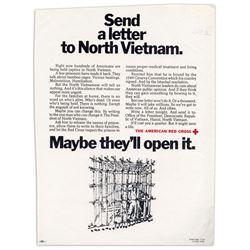 Original Vintage Red Cross Poster re North Vietnam